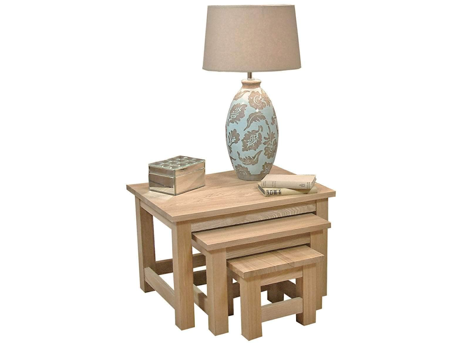 Obell range nest of three solid oak tables