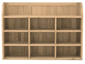 Obell solid oak wall rack with nine storage compartments plus shelf