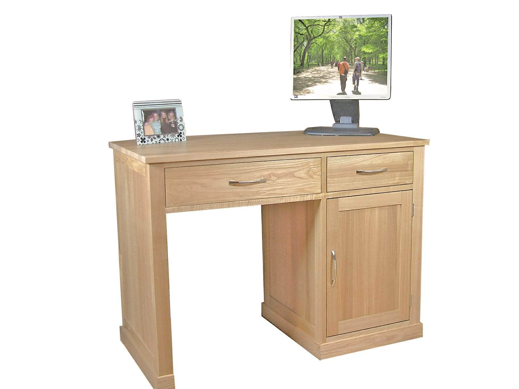 Obell small home office oak desk, with cupboard, drawer and keyboard tray