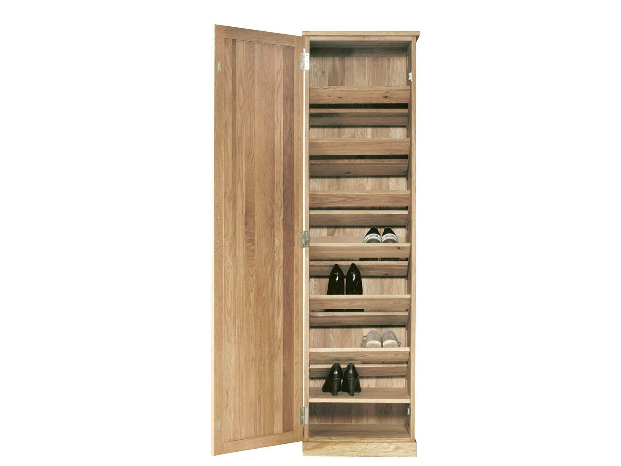 Solid oak tall shoe cabinet