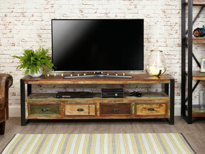 Open widescreen reclaimed wood TV cabinet front view
