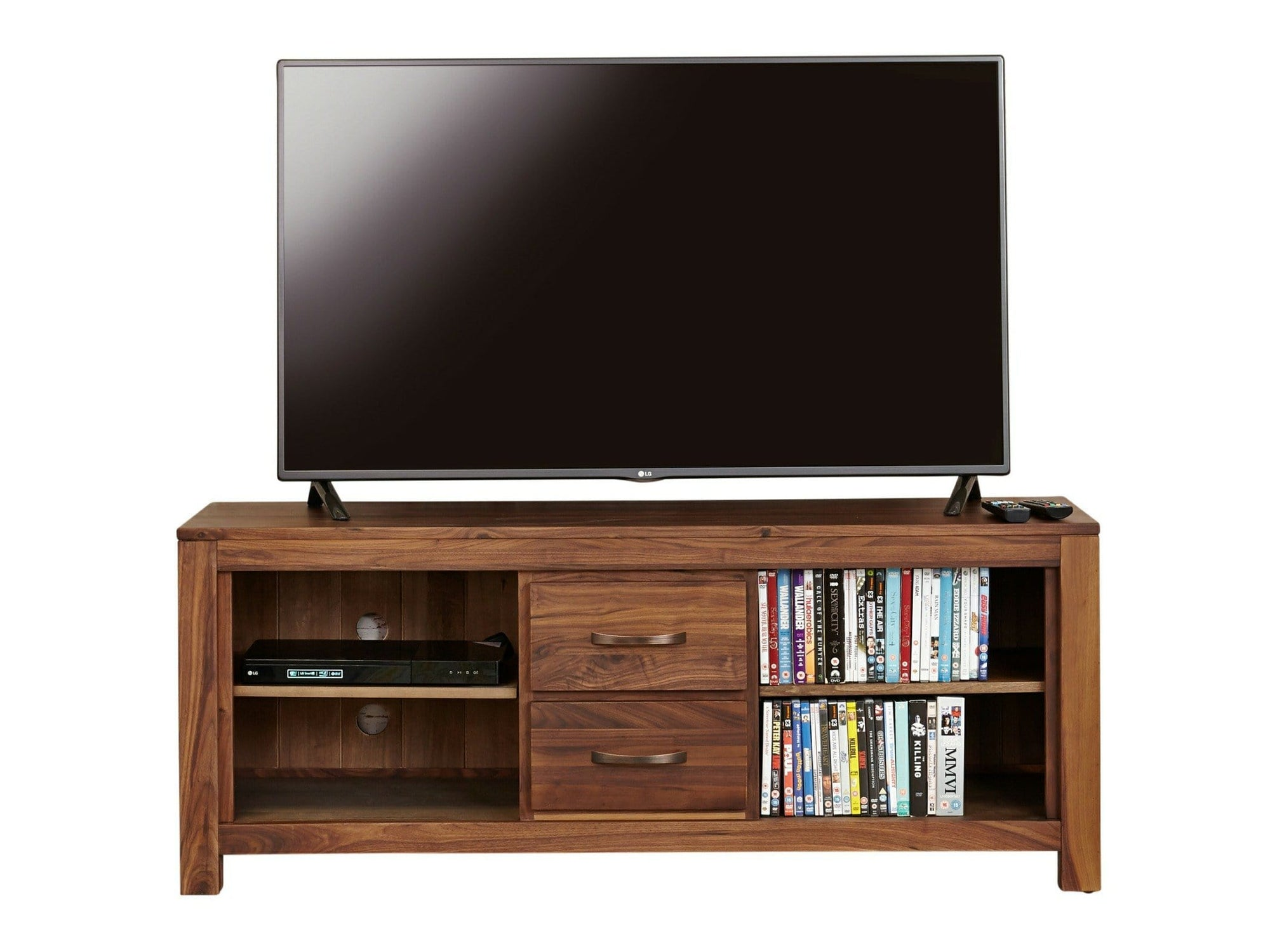 Large TV stand made from walnut wood. Includes two drawers and four shelves.