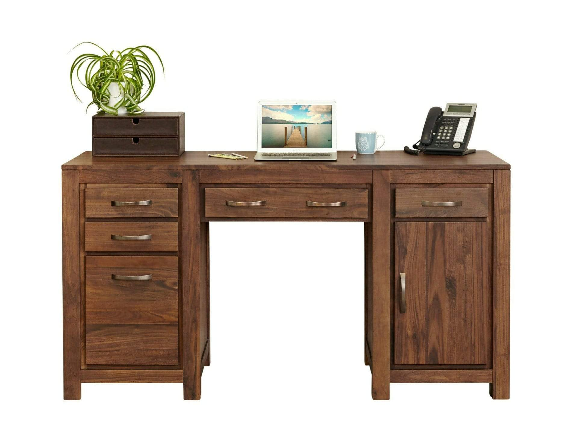 Orsina large walnut desk with computer keyboard tray, drawers and cupboards