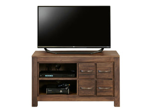 Compact walnut TV cabinet with four drawers and two shelves
