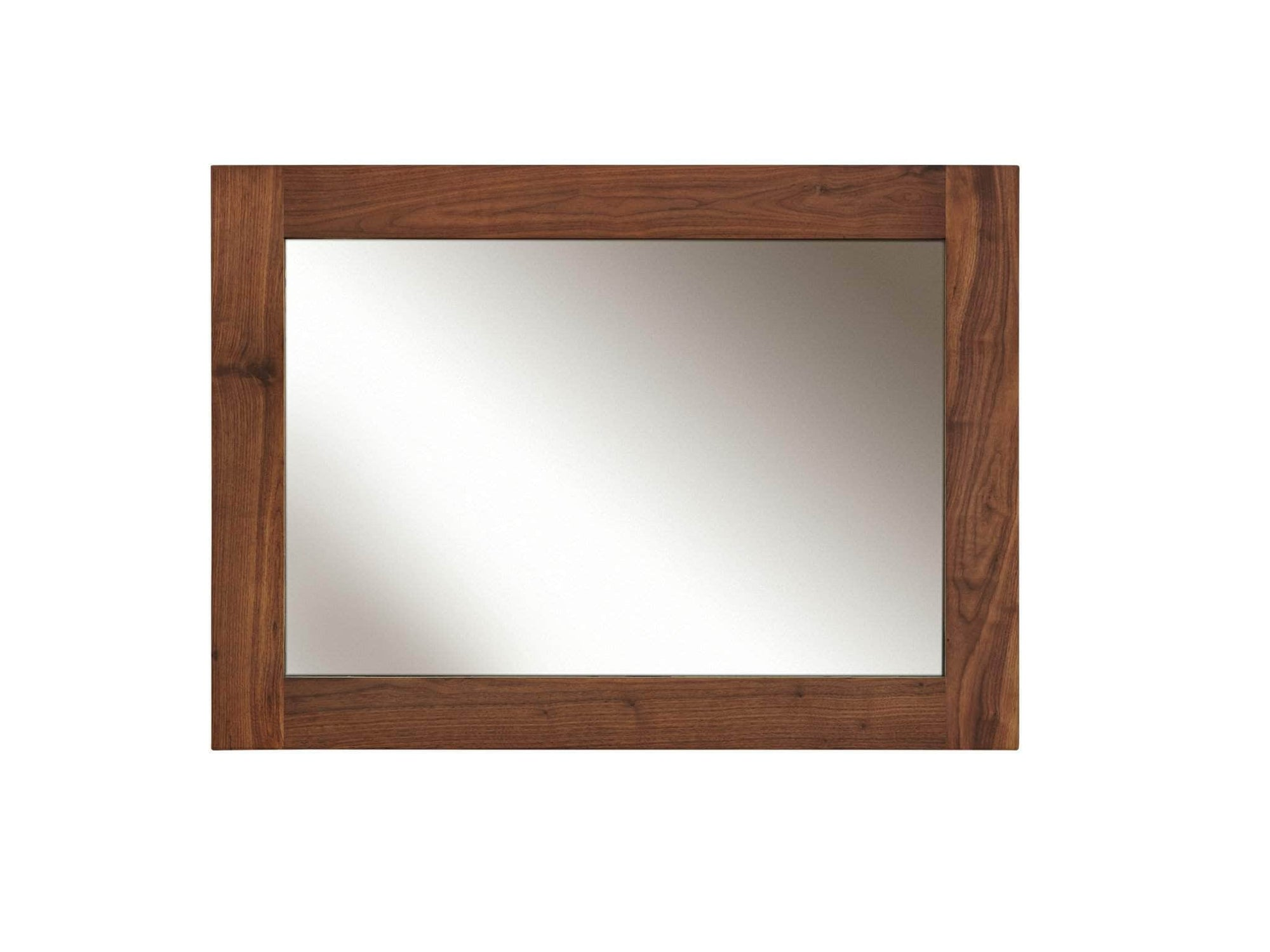 Medium sized mirror with solid walnut frame. Can be hung either in portrait or landscape.