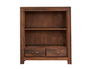Orsina small walnut bookcase with middle shelf and two drawers