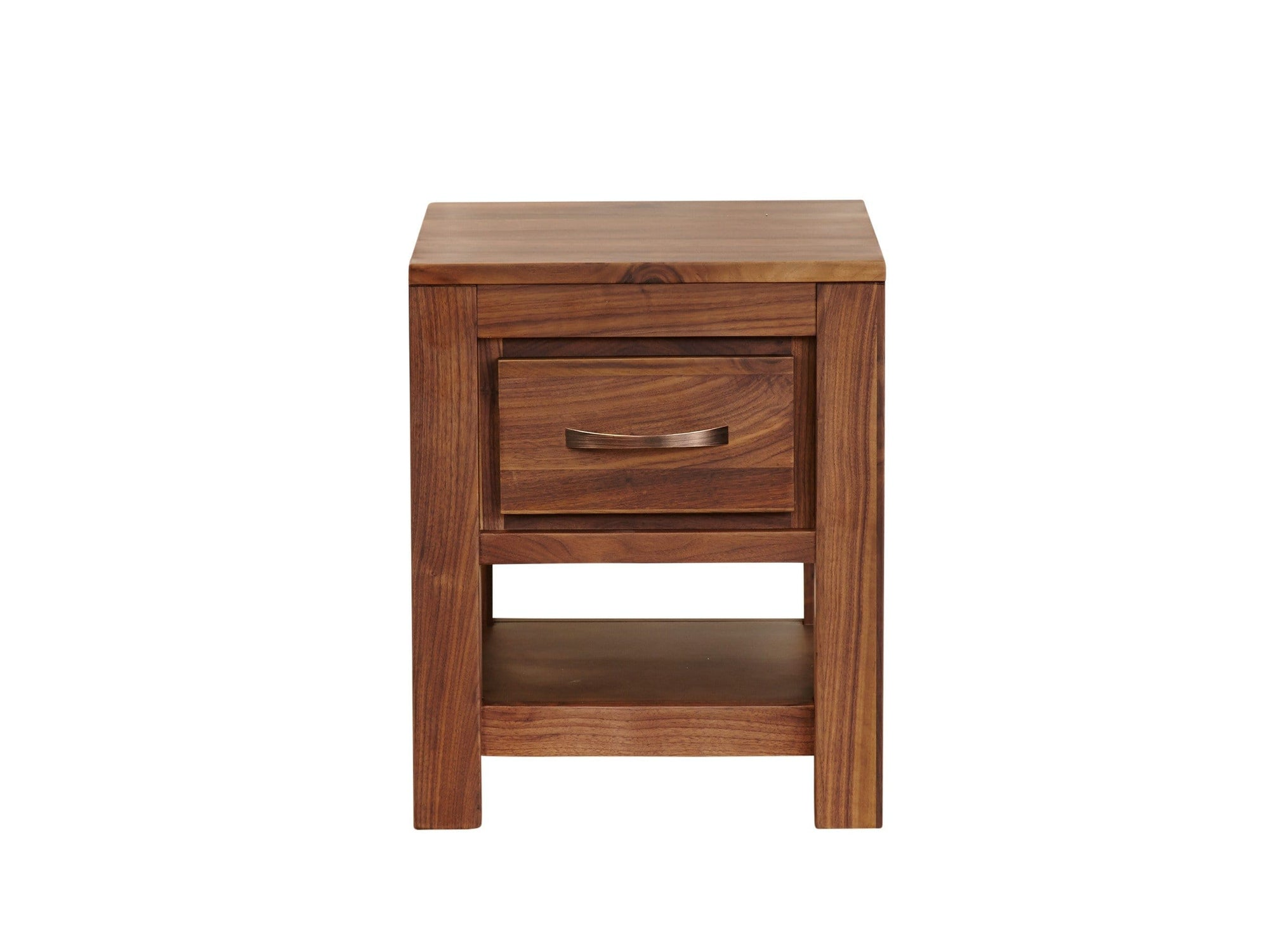 Small walnut table, for living areas or bedsides. Includes small drawer and lower shelf.