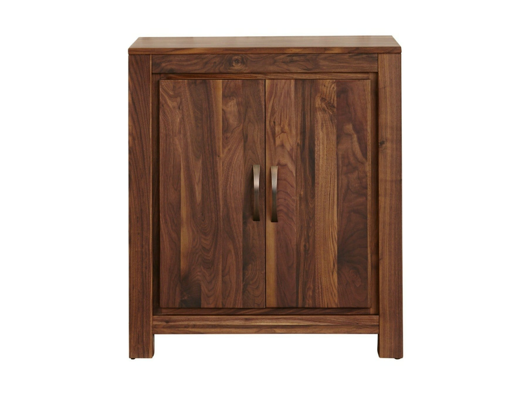 Small walnut hallway shoe cabinet with capacity for twenty pairs of shoes