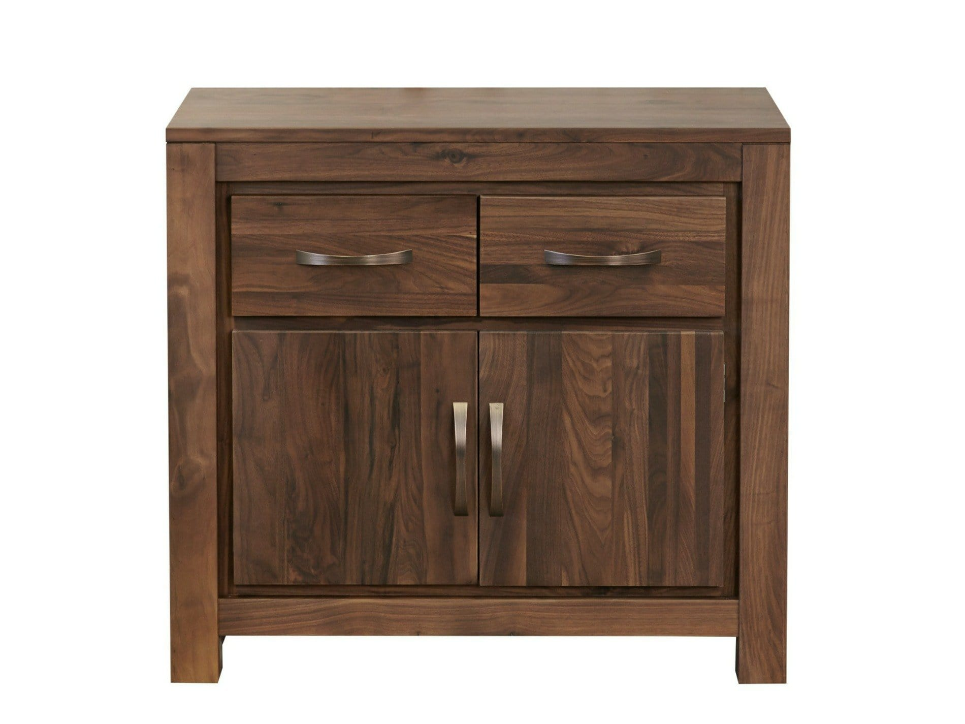 Orsina small walnut sideboard with a pair of drawers and one storage cupboard