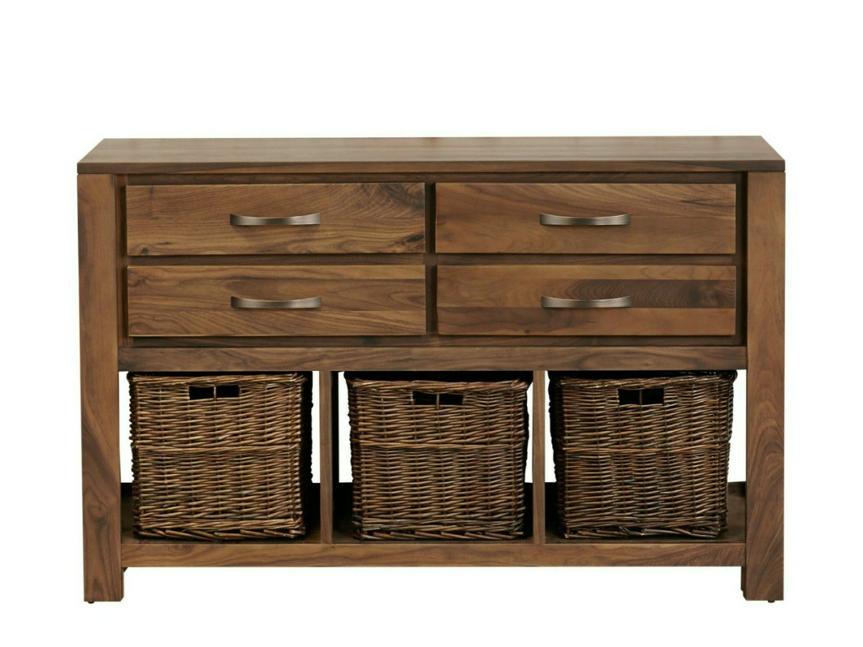 Solid walnut console table with four drawers and three storage baskets