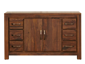 Solid walnut sideboard featuring six small drawers and one cupboard in the middle