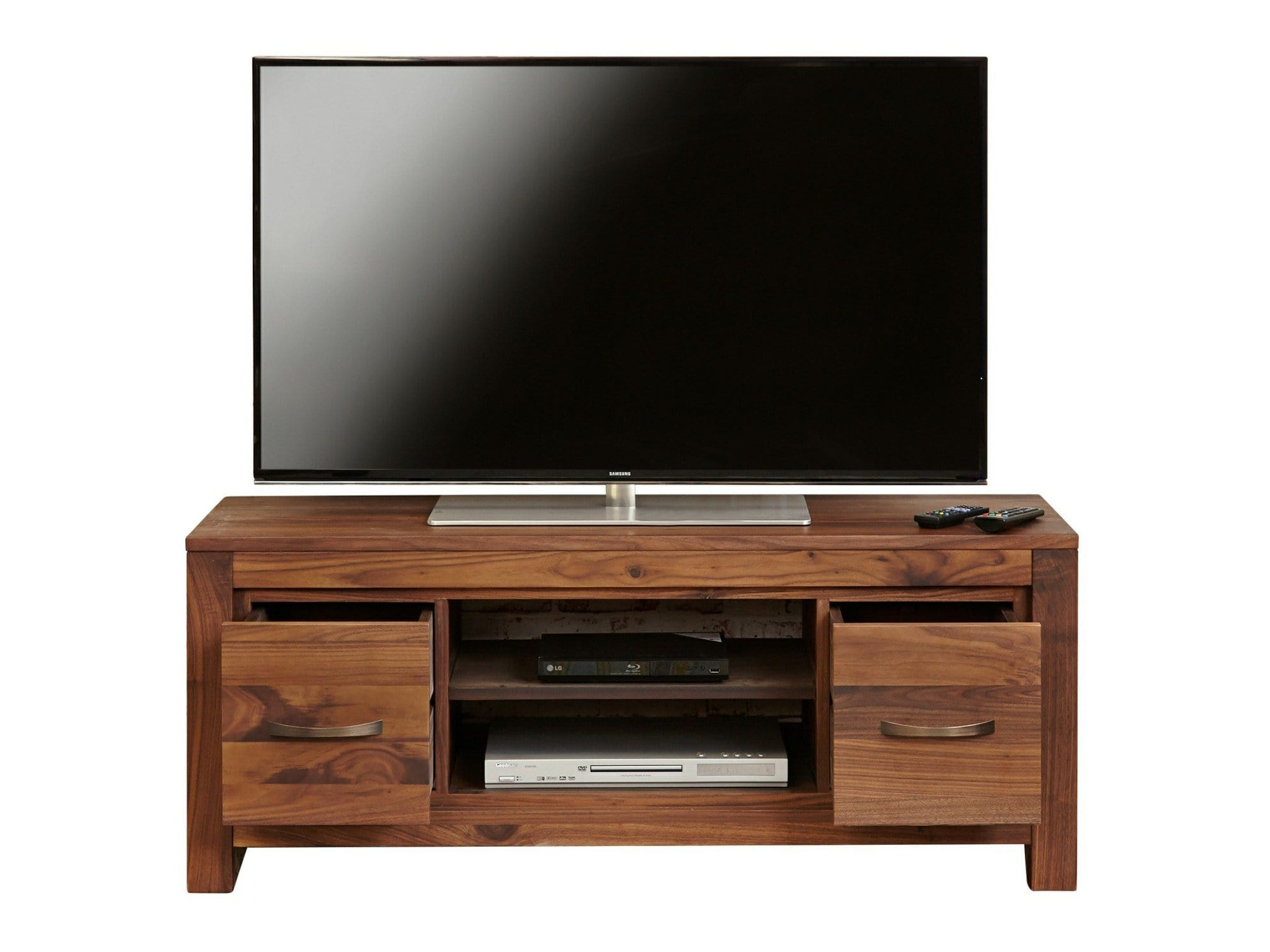 Orsina walnut TV stand with two drawers and two shelves for media boxes and DVD players