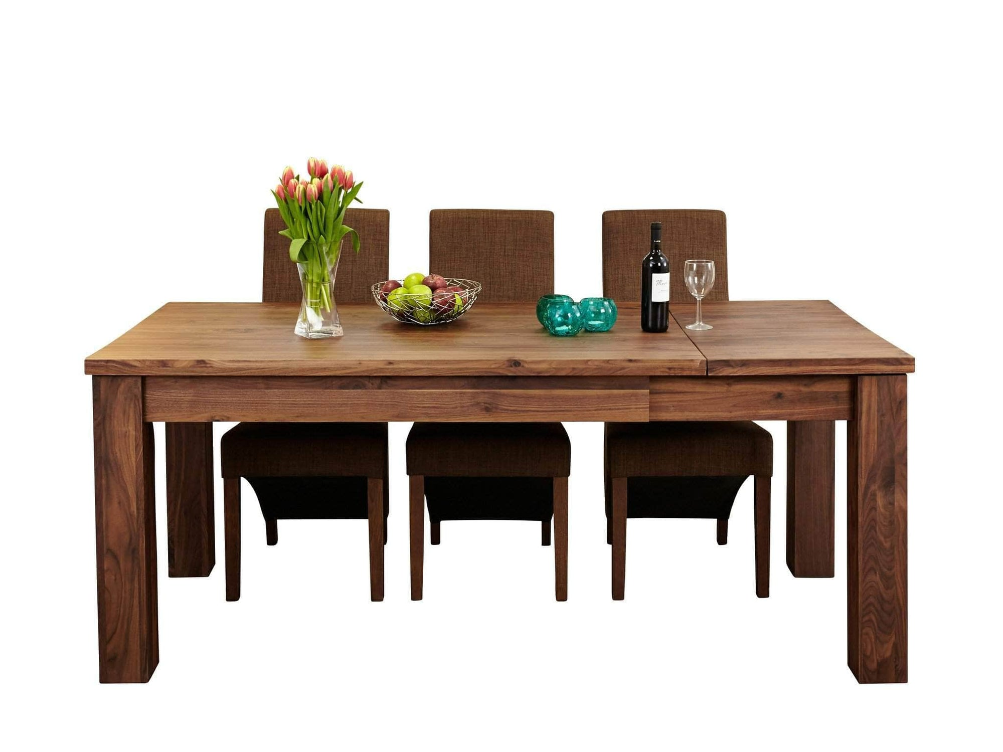 Solid walnut extending dining table for up to eight dinner guests