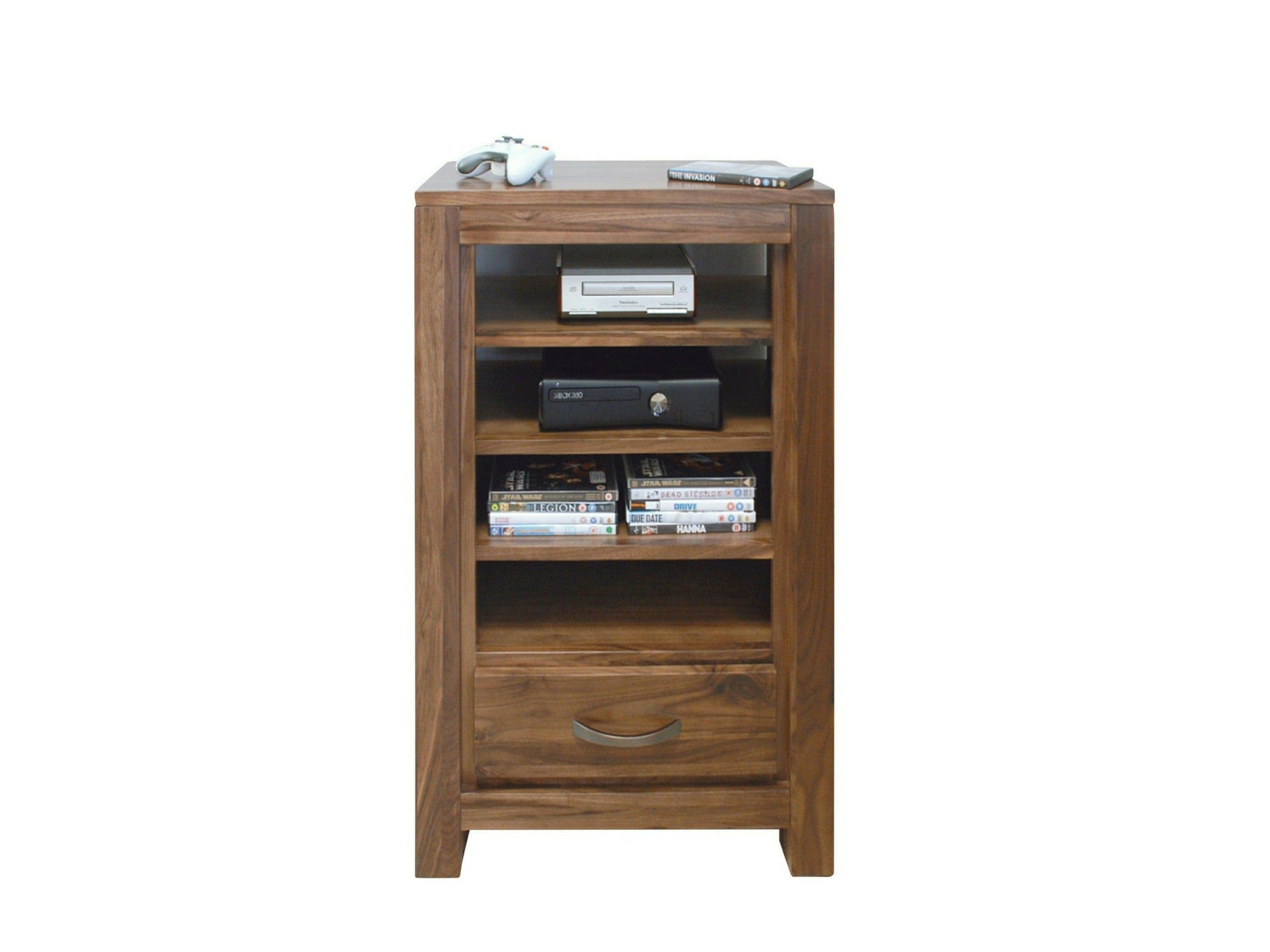 Walnut unit to store entertainment boxes on. Features four shelves plus one small drawer at the bottom.