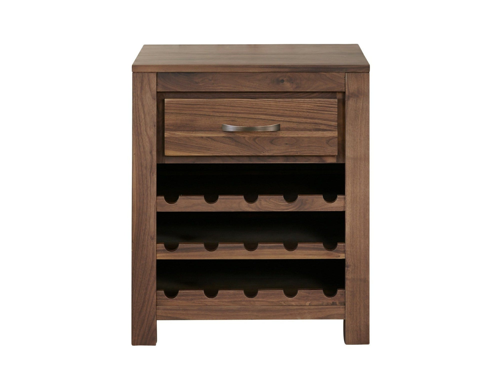 Walnut wine rack with capacity for 15 bottles, plus small storage drawer at top of unit