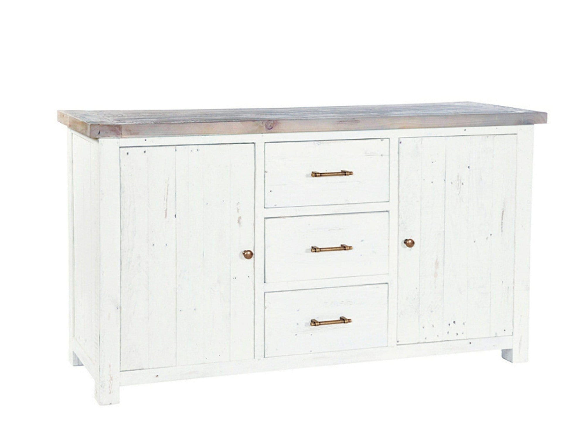 Large, ivory white rustic style sideboard with two cupboards and three central drawers