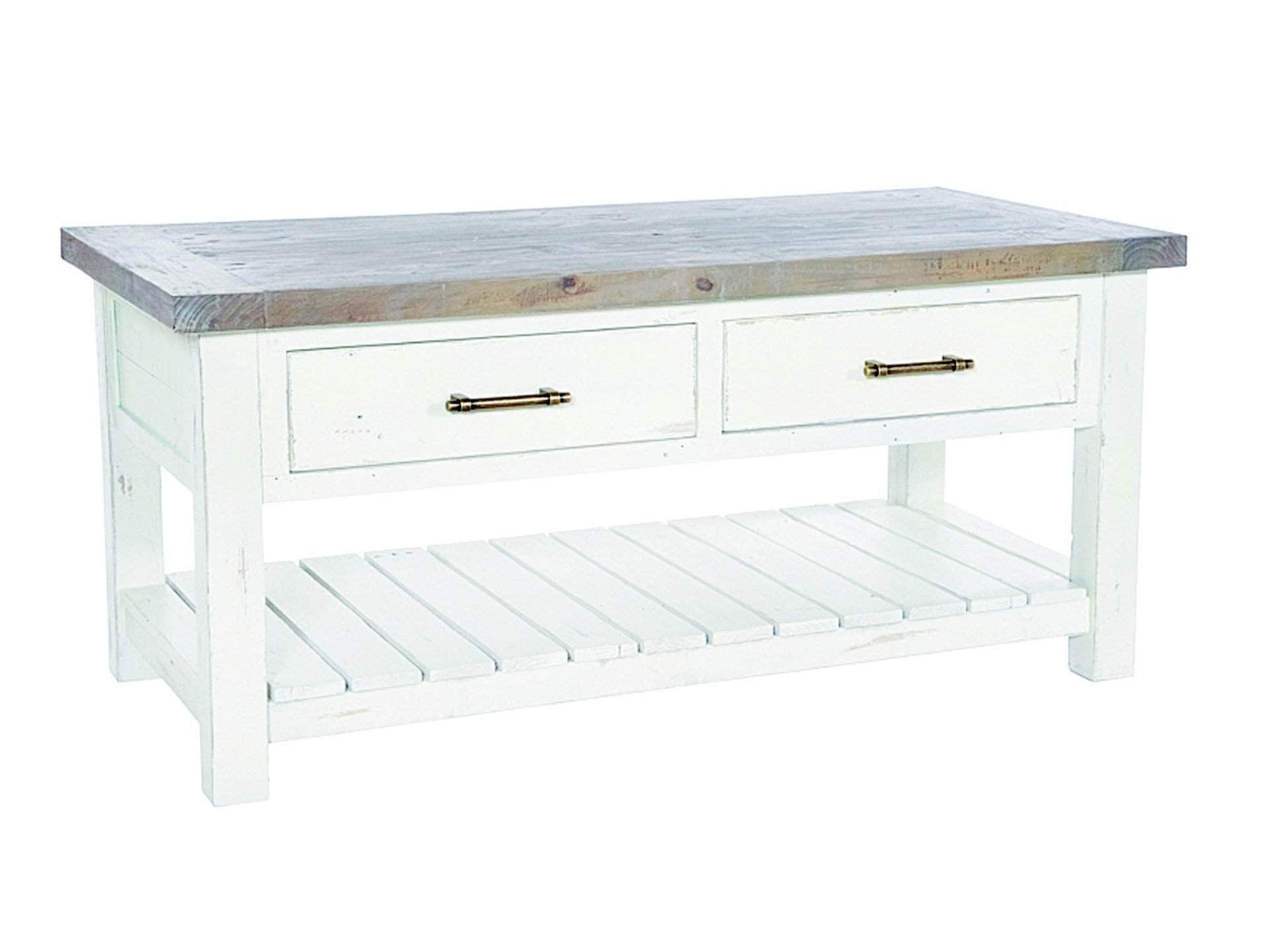Paxford ivory white coffee table with two drawers and slatted under shelf