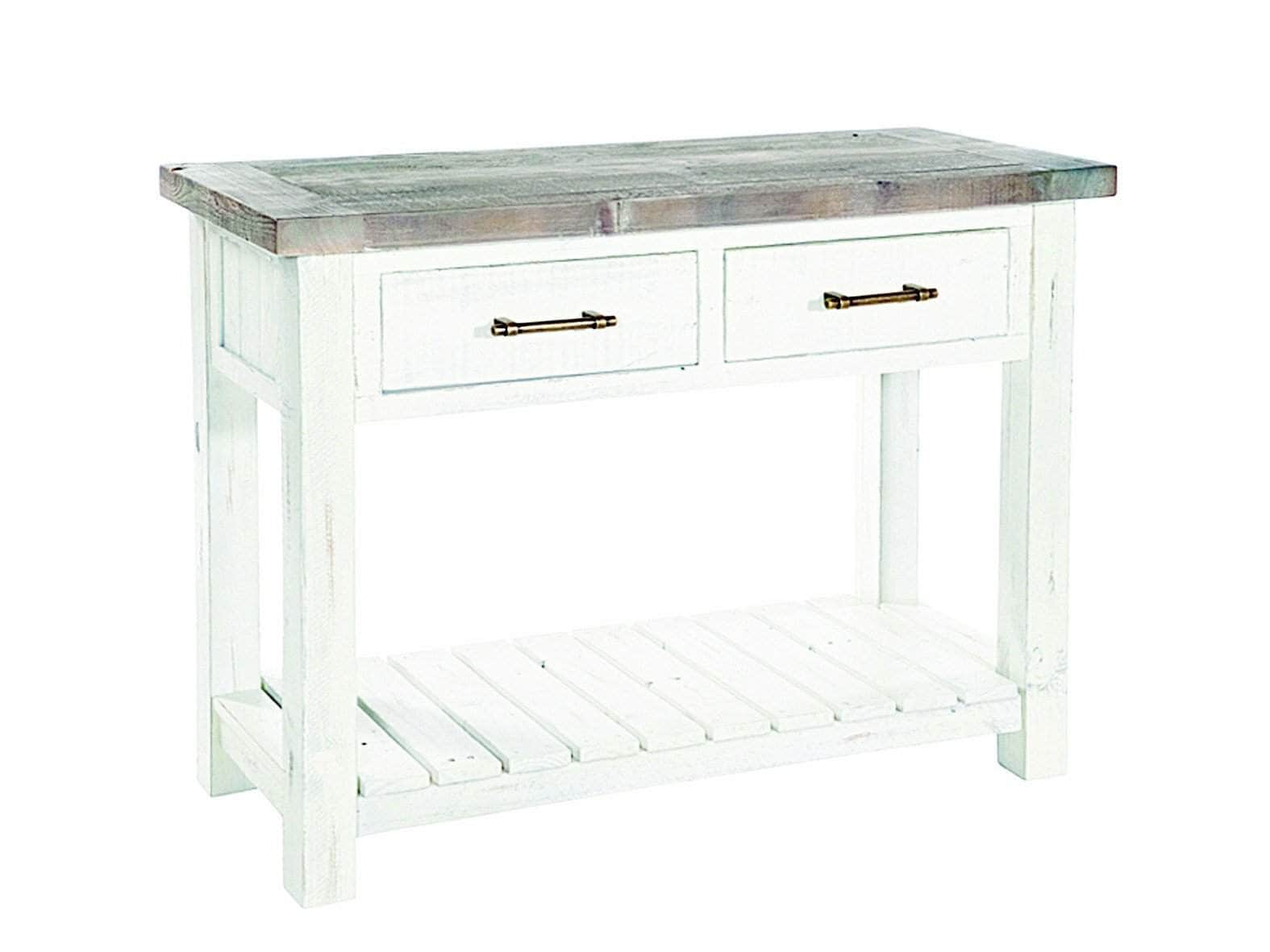 Paxford ivory white console table, featuring under shelf and two storage drawers