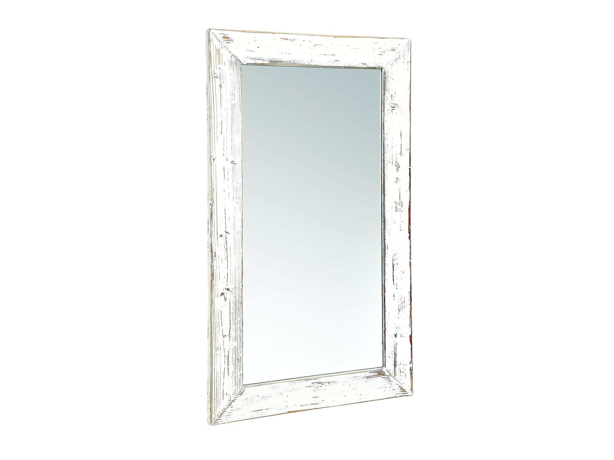 Hallway, living room or bedroom mirror, with a distressed wooden frame, painted ivory white
