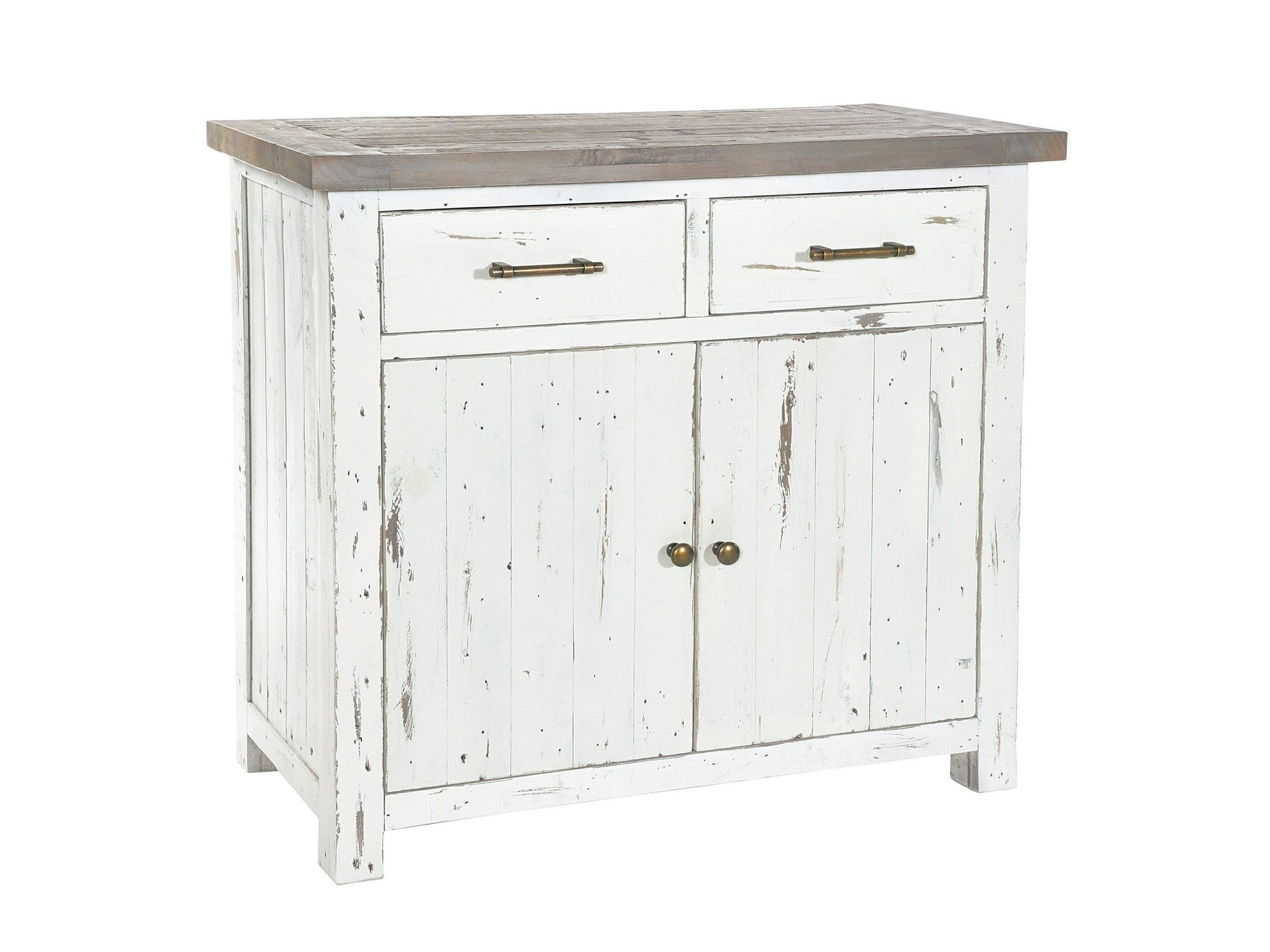 Small, distressed wood sideboard in ivory white colour, with two top drawers plus storage cupboard