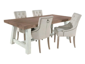Paxford rustic dining table with ring back upholstered chairs