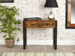 Reclaimed wood console table front view
