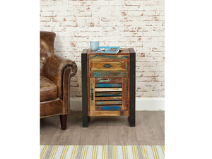 Reclaimed wood door and drawer lamp table front view