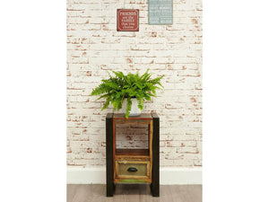 Reclaimed wood lamp table / bedside cabinet front view