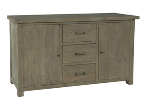 Large dark coloured sideboard, made from reclaimed wood, with three middle drawers and two cupboards