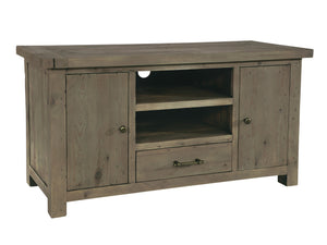 TV stand made from reclaimed wood, featuring central shelves, drawer and storage cupboards