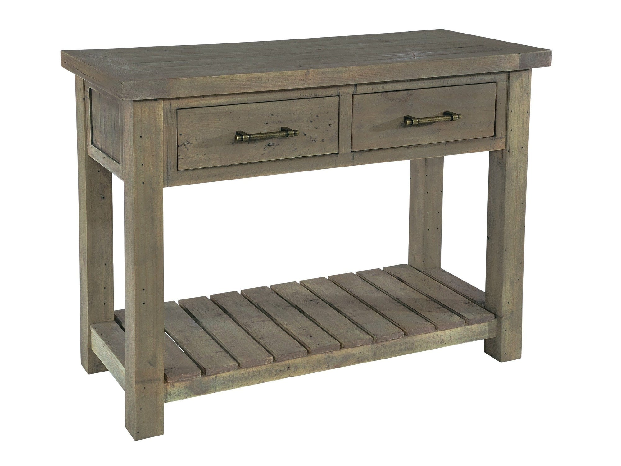 Reclaimed wood console table, for hallways or corridors. Two drawers at the top plus a bottom shelf.