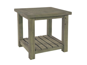 Seaton range side table made from reclaimed wood, with slatted under shelf