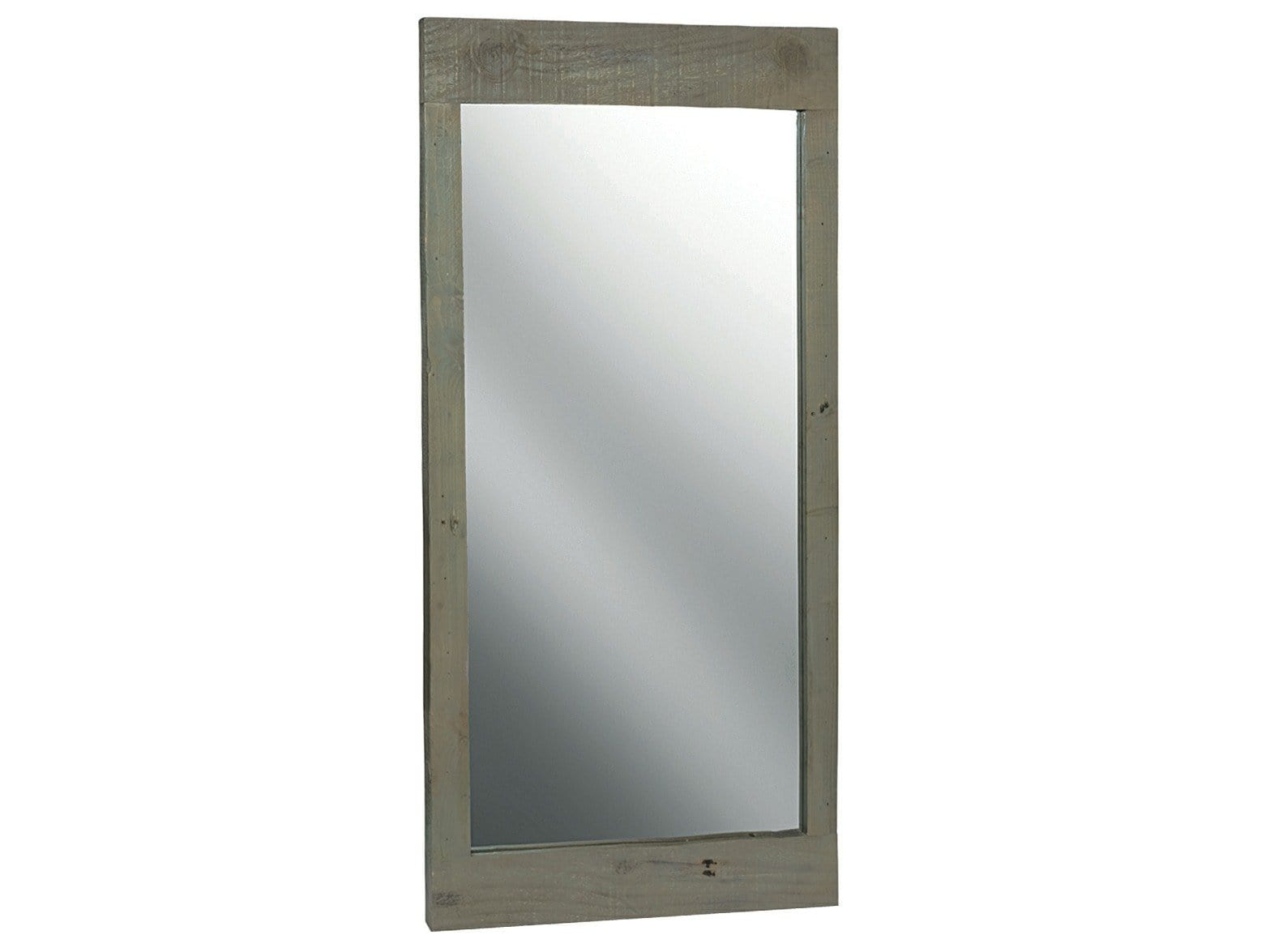 Mirror with dark reclaimed wood frame