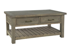 Coffee table made from dark reclaimed wood, with two drawers and slatted under shelf