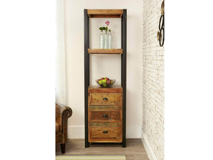 Small reclaimed wood bookcase with drawers front view