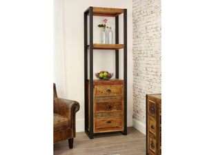 Asia Reclaimed Wood Bookcase with Drawers - Narrow