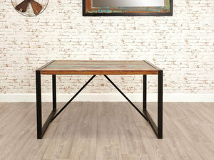 Small reclaimed wood dining table front view
