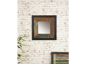 Small reclaimed wood mirror front view