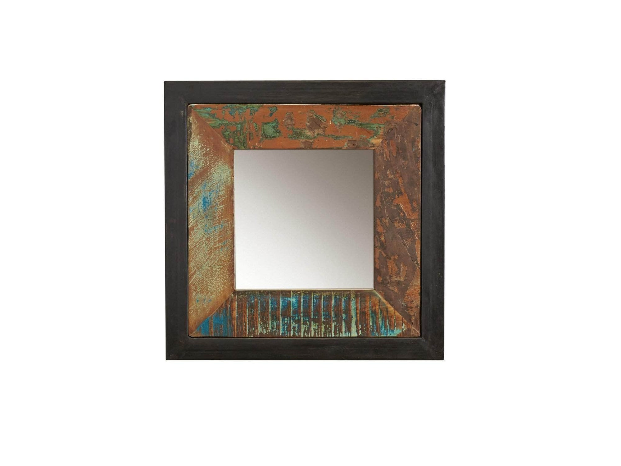 Small reclaimed wood mirror with colourful wood frame and steel outer frame