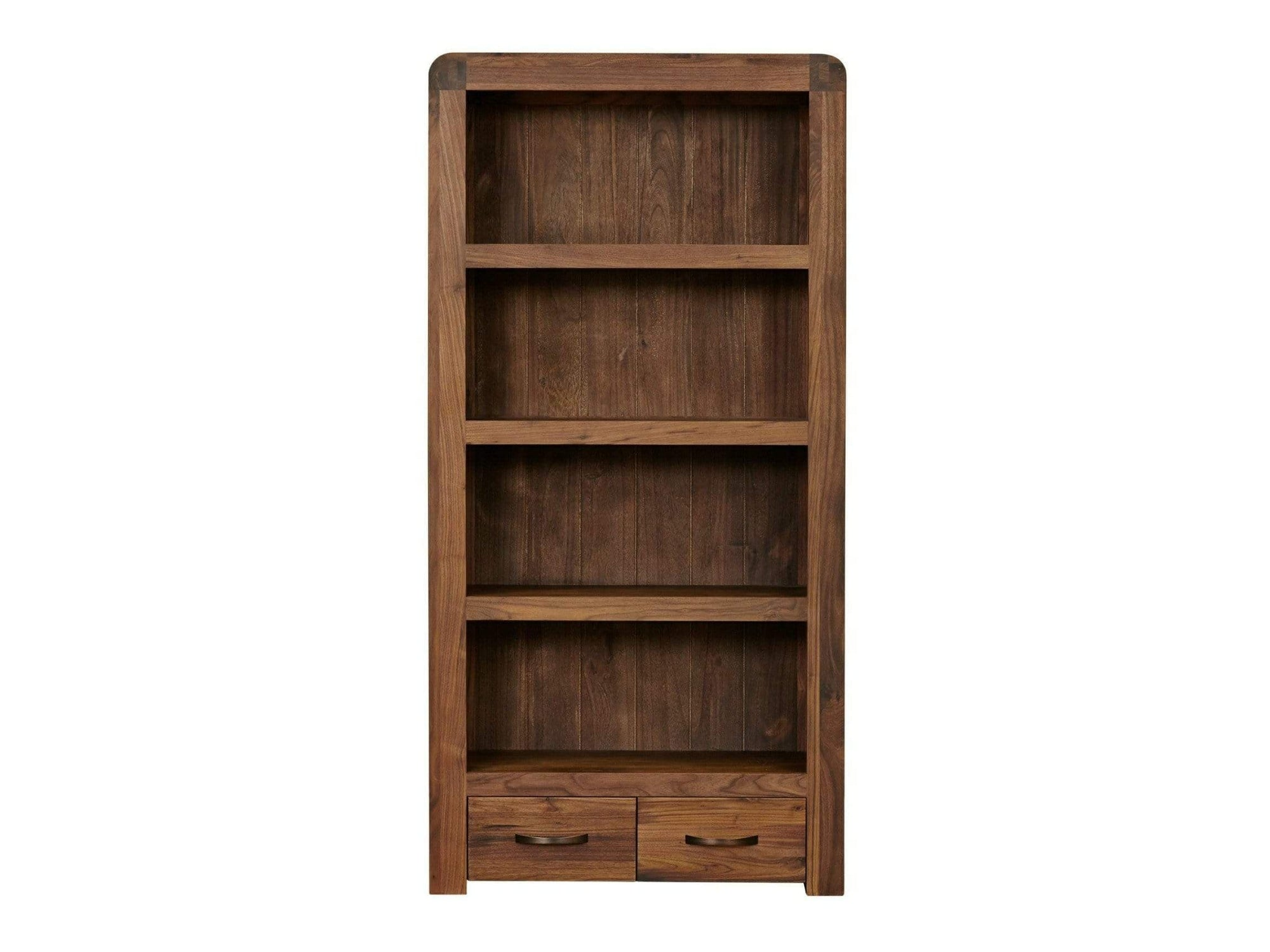 Large dark wood bookcase with four shelves and two drawers for storage at the base of the unit
