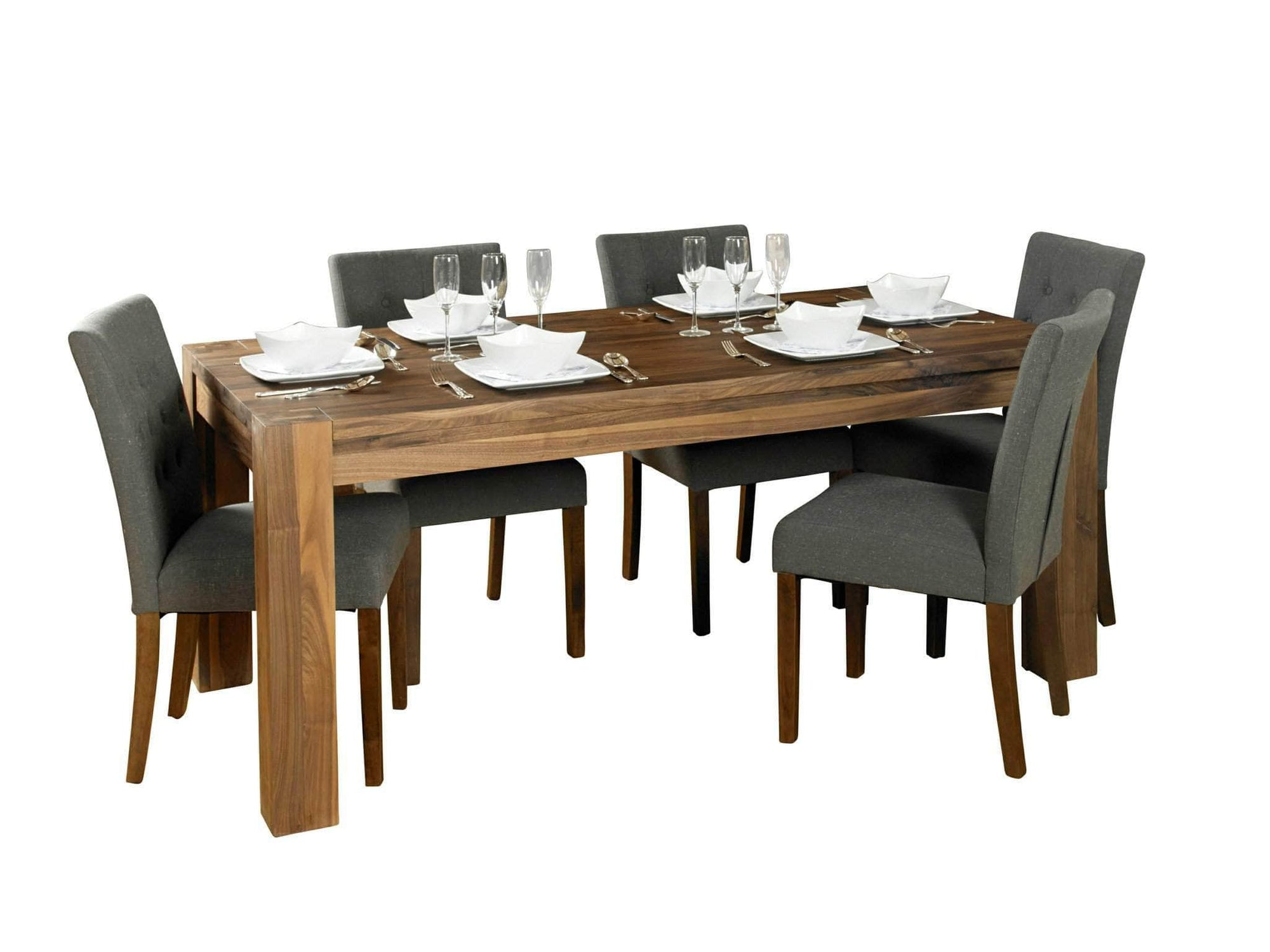 Solid walnut dining set, for the Sola or Orsina furniture ranges