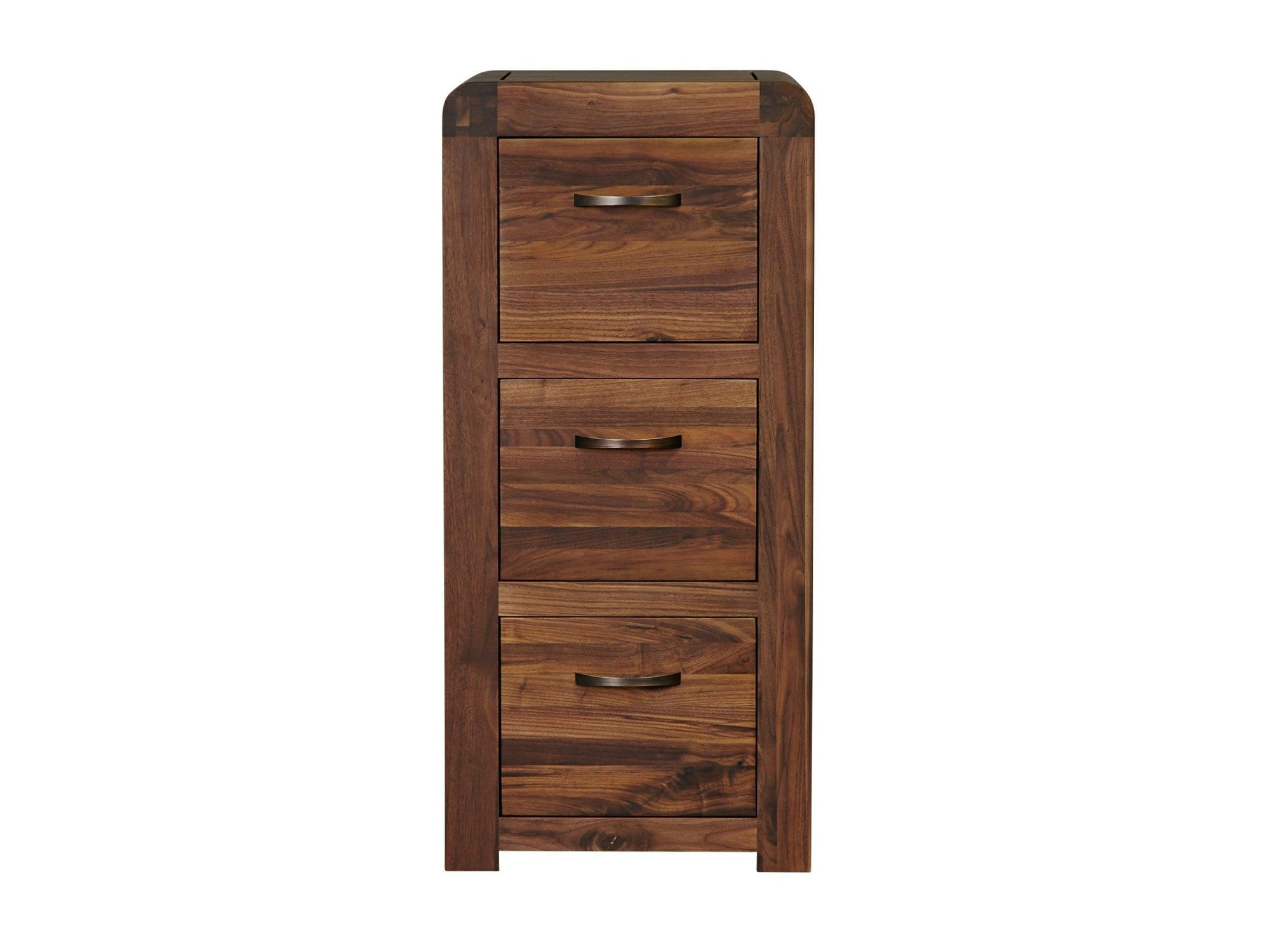 Sola range dark wood filing cabinet with three drawers