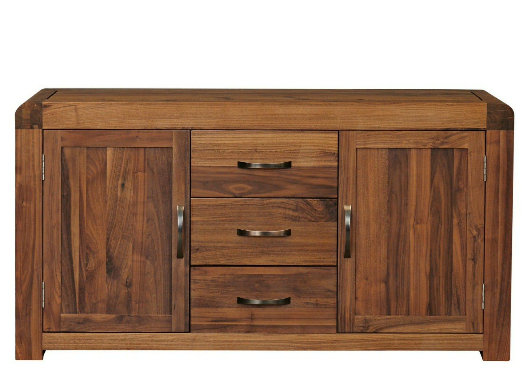 Large solid walnut sideboard with two cupboards and three medium-size drawers