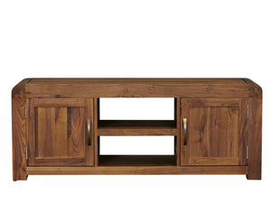 Large dark wood TV stand with middle shelf and two storage cupboards for DVDs