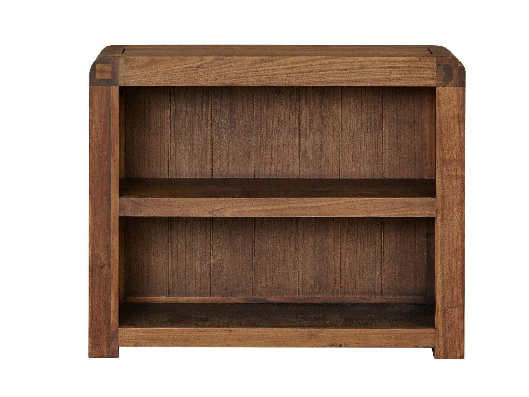 Small bookcase in dark wood with one dividing shelf
