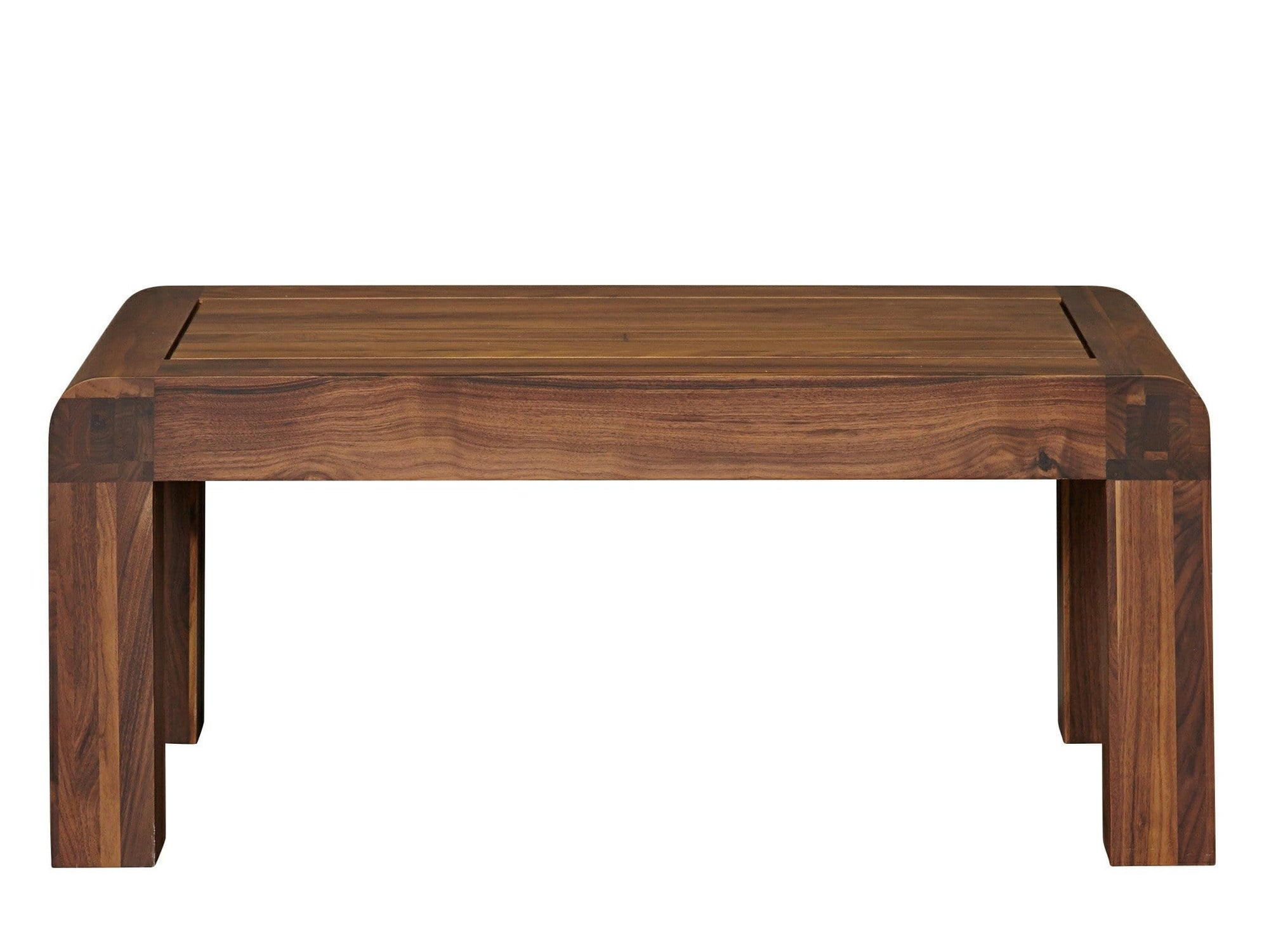 Dark wood coffee table with curved corners