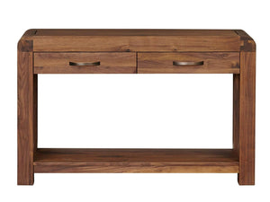 Dark wood hallway console table with two drawers and bottom shelf