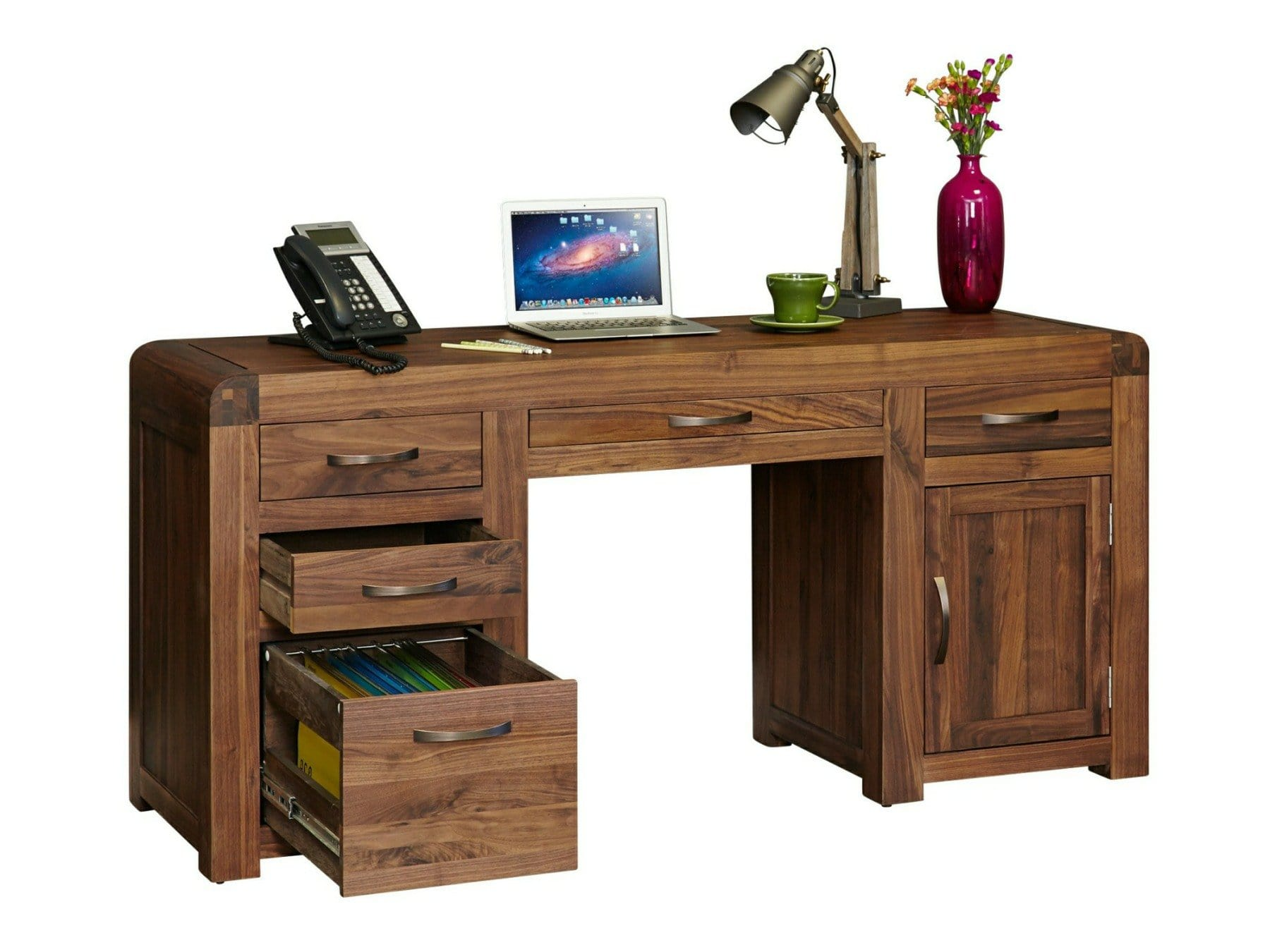 Large dark wood home office desk with filing cabinet and computer cupboard