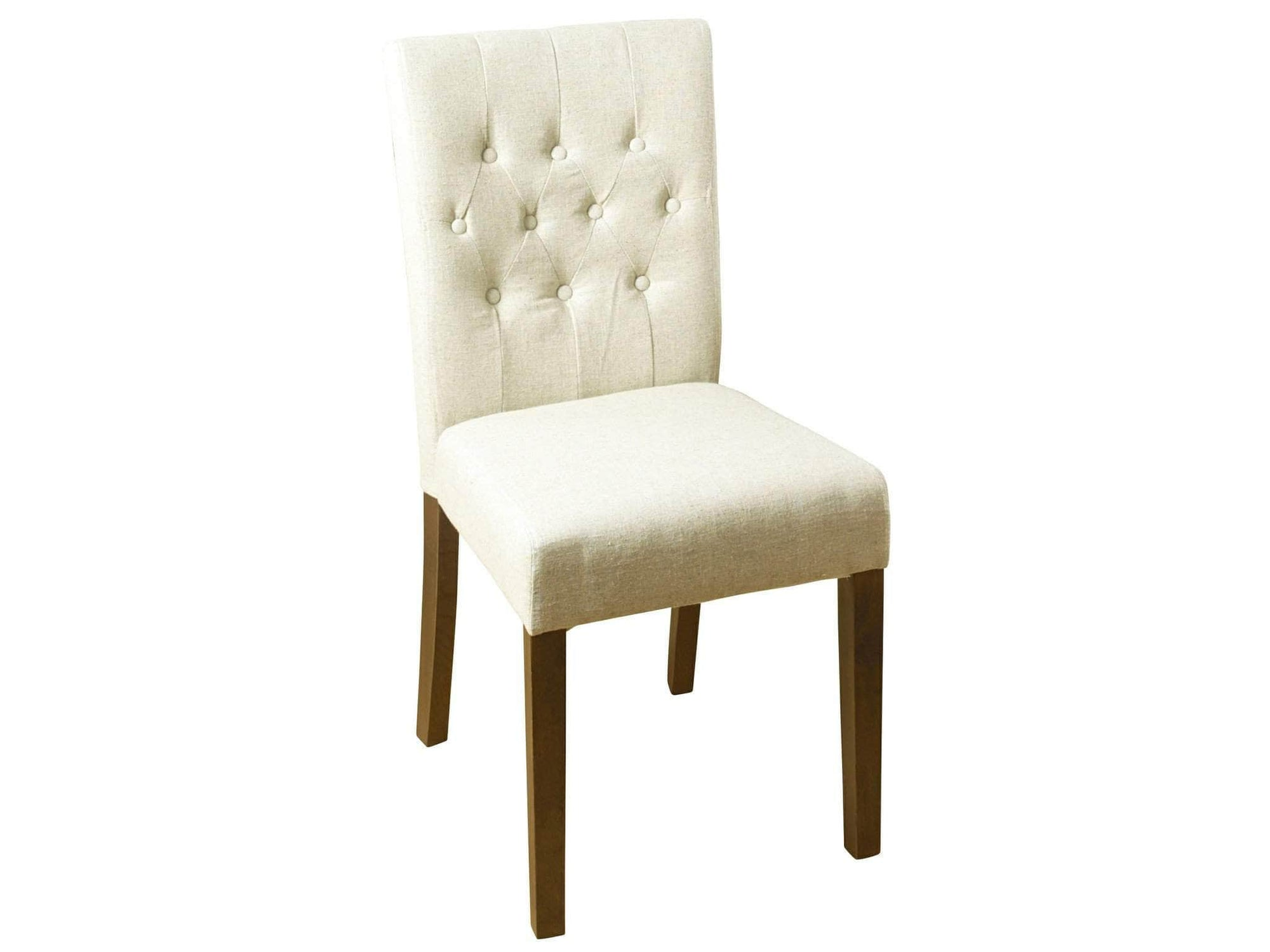 Linen upholstered dining chairs with walnut legs