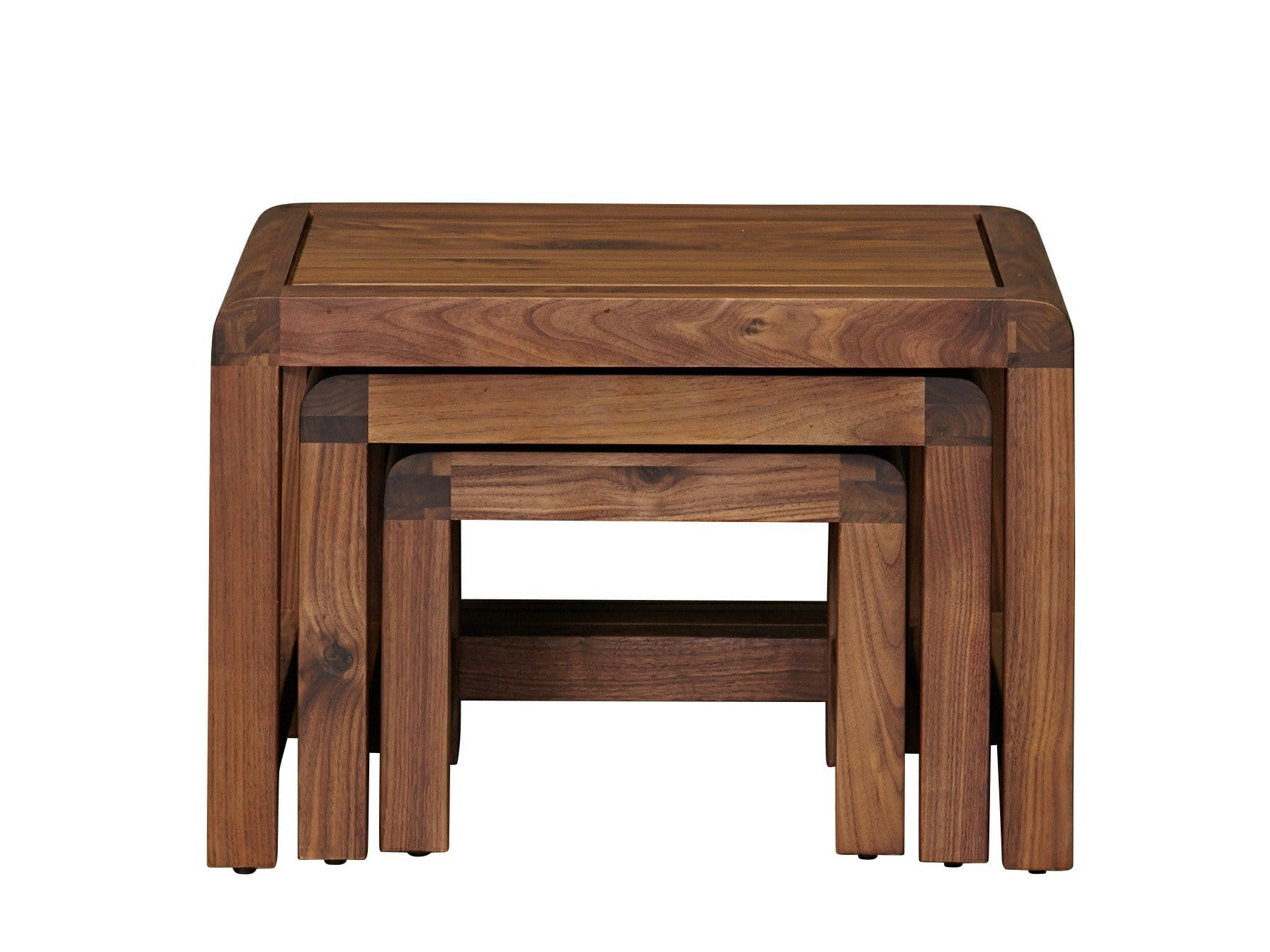 Contemporary style nest of tables in dark wood